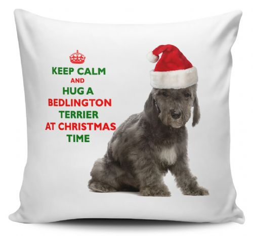 Christmas Keep Calm And Hug A Bedlington Terrier Novelty Cushion Cover